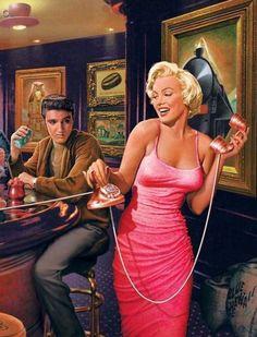 Cuadro pintado Marilyn y Elvis
