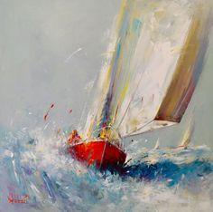 The wind - Painting, cm © 2016 door Franck Hebert - My Bilder Nautical Art, Art Painting, Abstract Painting, Sailing Art, Painting, Sailing Painting, Sailboat Painting, Abstract, Seascape Paintings