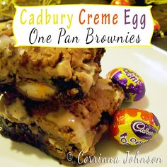 Are you crazy for the ooey gooey, creamy deliciousness of Cadbury Creme Eggs? Treat your friends and family to the chocolatey goodness of these eggstra-special Cadbury Creme Egg One Pan Brownies. These are an adaptation of my mom's one pan. Just Desserts, Delicious Desserts, Dessert Recipes, Yummy Food, Dessert Bars, Dessert Ideas, Easter Recipes, Holiday Recipes, Easter Desserts