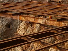 Steel Beams, Old, Rusty, Steel Mesh, Grid, Metal
