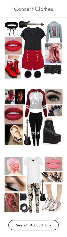 """""""Concert Clothes"""" by drummergirl95 ❤ liked on Polyvore featuring Monza, Deby Debo, Pierre Balmain, Dr. Martens, Boohoo, Killstar, Eyeko, WithChic, OPI and RtA"""
