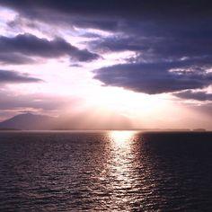 Sailing Away From Ketchikan  #Sunset #Clouds #Cloudy #Ocean #Sea #Ketchikan #Alaska #Mountains #rays #light