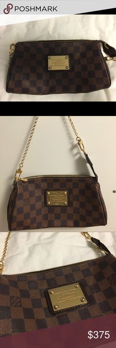 Authentic Louis Vuitton Handbag This is an authentic dark checkered mini Louis purse. It has a gold chain to make into a shoulder bag. I have barley used it and it is in very good condition with little wear marks. Louis Vuitton Bags Mini Bags