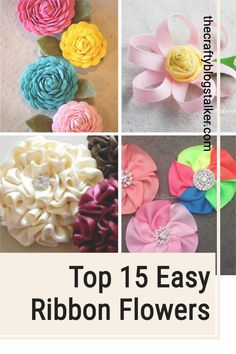 Create Easy Ribbon Flowers to add to sewing projects, headbands, home decor, and more! Click here for the step by step tutorials. #thecraftyblogstalker #ribbonflowers #diyflowers #ribbonflowertutorials Diy Crafts Hacks, Cool Diy Projects, Diy Crafts To Sell, Sewing Projects, Handmade Flowers, Diy Flowers, Ribbon Flower Tutorial, Diy Crafts For Adults, Satin Ribbon Flowers