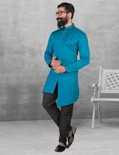 Blue color silk kurta suit for festive fuction Nigerian Men Fashion, Indian Men Fashion, Mens Fashion, Pathani For Men, Pathani Kurta, Gents Kurta Design, Chinese Collar, Designer Suits For Men, Ethnic Looks