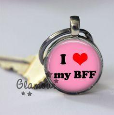 I Heart My BFF Pink Best Friends Silver Bezel Glass Tile Key Chain