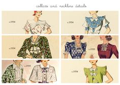 Learn about vintage clothing: Vintage 1930s Silhouette and Style Notes- Collars and Necklines