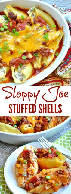 These SLOPPY JOE STUFFED SHELLS are a fun and easy twist on the classic family-friendly dinner!  With pasta, meat, and veggies baked together in one dish, it's a great freezer meal or make-ahead supper to enjoy on your next busy weeknight! #ManwichMonday #ad @Manwich