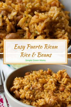 Rican Rice + Beans Easy Puerto Rican Rice and Beans Recipe via Puerto Rican Rice and Beans Recipe via Mexican Food Recipes, Vegetarian Recipes, Cooking Recipes, Healthy Recipes, Rice Recipes, Steak Recipes, Healthy Food, Recipies, Side Dish Recipes