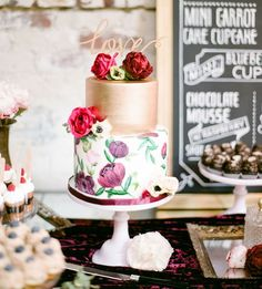 gold and floral cake