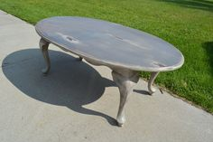 Painted Two-Tone Queen Ann Oval Coffee Table. Rustic shabby chic coffee table. Painted furniture.