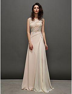 o linie rochie bijuterie matura / perie sifon tren și dantel... – EUR € 136.36
