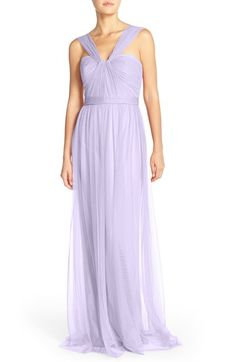 Amsale 'Aisha' Tulle Twisted V-Neck Gown