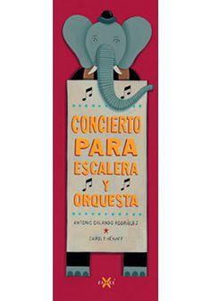 """""""Concierto para escalera y orquesta """" de Antonio Orlando Rodríguez..  Una pareja intenta asistir al concierto de la Orquesta Sinfónica, pero hay un solo problema: las escaleras del edificio han desaparecido. Mientras buscan una solución, el concierto avanza cada vez más. Antonio Orlando Rodríguez nos envuelve en esta historia llena de humor y absurdo.  Las originales ilustraciones de Carol Hénaff complementan el formato del libro: muy largo y estrecho, justo como una escalera.  DE 3 A 6 AÑOS"""