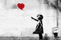 "With his characteristic stencil techniques Banksy has created variations on the theme of a girl with a balloon, but the most famous of these is the one discovered in the South Bank of London in 2002 on the wall of a stairway. In this work an innocent girl is reaching for a red heart-shaped balloon that is just beyond her grasp, and the words ""there is always hope"" are placed behind the girl."