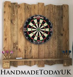 Handmade Driftwood Dart Board Dartboard Backboard with Shelf