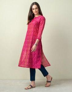 Cotton Silk Ikat Long Kurta Casual Indian Fashion, Indian Fashion Dresses, Dress Indian Style, Indian Designer Outfits, Indian Wear, Indian Outfits, Simple Kurti Designs, Kurti Neck Designs, Kurti Designs Party Wear