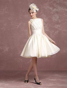 Short Wedding Dress Ivory Vintage Bridal Dress Taffeta Back Detail Bow Cutout Pleated Bateau A Line Knee Length Bridal Gown