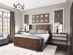 Transitional Master Bedroom | exotic wood veneer | bedside tables | geometric rug | custom window treatments | Roman shades | drapery panels | Design by ADJ Interiors
