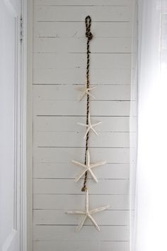Attach finger starfish in varied sizes to rope for instant wall art. Use smaller rope or twine, to tie the starfish.