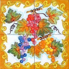 Hand Painted Tile Mural - Baroque Grapevine - Grape Decor - Vineyard Decor - Ceramic Tiles - Wall Tiles - Kitchen Backsplash
