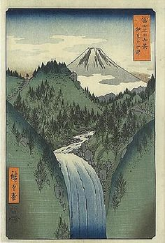 +++Hiroshige - vertical perspective - you can see depth in this image, the river gets smaller the further back it appears in the image.