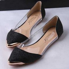 Casual Glittering Pointed Toe Flat Shoes