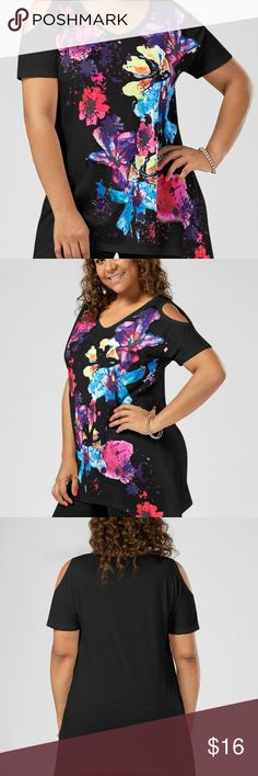 NWT Plus Sz Cold Shoulder Splatter Paint Top Black Beautiful top, perfect for spring & summer!   Material: Polyester  Shirt Length: Regular  Sleeve Length: Short  Collar: Scoop Neck  Style: Fashion  Season: Fall,Spring,Summer  Pattern Type: Print CheekyChic Tops Tees - Short Sleeve