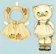 kitty cat paper doll set ☀CQ #printables #paperdolls