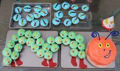 Babies first birthday idea: Worm cupcakes and caterpillar cupcakes and smash cake.