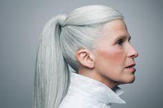 Silver grey hair. White hair. Ponytail. Aging gracefully. Granny hair. White hair. Dye free. No dye.
