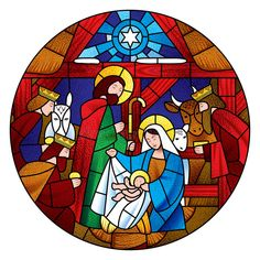 Circle shape with the Christmas and Adoration of the Magic scene in stained glass style. Christmas Nativity, Christmas Clipart, A Christmas Story, Christmas Art, Christmas Decorations, Stained Glass Cookies, Stained Glass Art, Illustration Noel, Christmas Illustration