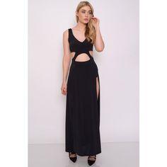 Rare London Black Cut Out Split Maxi Dress (360 ARS) ❤ liked on Polyvore
