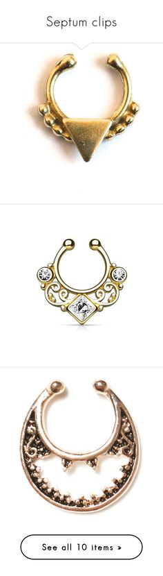 """""""Septum clips"""" by badstan ❤ liked on Polyvore featuring jewelry, piercing, accessories, petite jewelry, forever 21 jewelry, polish jewelry, brass jewelry, forever 21, gold gemstone jewelry and lace jewelry"""