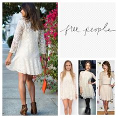 """Free People Walking To The Sun Lace Dress.  NWT. Free People Cream Walking To The Sun Lace Dress, 70% cotton, 30% nylon, washable, 20"""" armpit to armpit (40"""" all around), 13"""" arm inseam, 34"""" length, a swingy dress crafted from geometric floral lace, woven fabric, lace overlay, round neckline, three quarter sleeves, dropped waist, detachable slip lining, measurements are approx.  ...No Trades... Free People Dresses"""