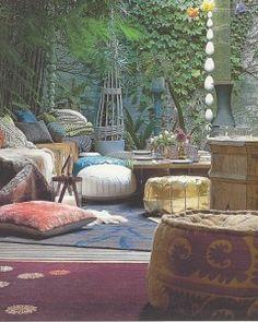 if you can bring your outside in and your inside out you can create a bohemian space Bohemian Style Home, Bohemian Patio, Bohemian Interior, Bohemian Living, Bohemian Decor, Boho Chic, Hippie Chic, Bohemian Gypsy, Boho Lounge