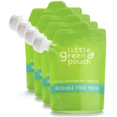 Little Green Pouch- Genius! These would be great for homemade baby food. toddlers love applesauce and yogurt out of them with no mess!