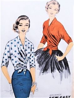 1950s STUNNING Draped Surplice WRAP Around Blouse Pattern ADVANCE 7701 Glamorous Day or Evening Sew Easy Vintage Sewing Pattern