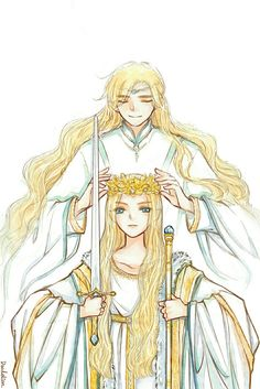AU. Finrod passes the crown of Nargothrond to Galadriel