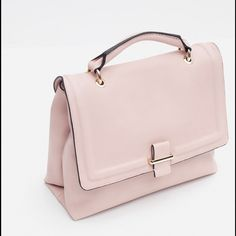 NWT Zara city bag Zara bag in blush pink. NWT. Features gold hardware and a good amount of space inside. Comes with a long strap. Measurements L 9 W 11 D 4.2 in. Can be used as a cross body!  P.S. Price firm. Zara Bags Satchels