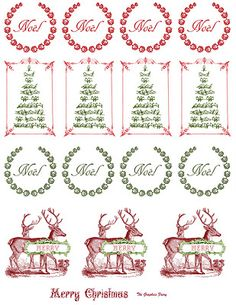 Printable - Vintage Christmas Stickers - The Graphics Fairy