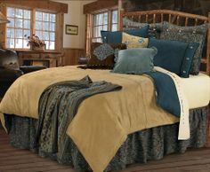 """HiEnd Accents Bella Vista Comforter Bedding, Super King by HiEnd Accents. $389.00. 5 pc luxury comforter set, 110""""x96"""" comforter, 21""""x34""""pillow sham (2pcs), 18""""x18"""" pillow, 78""""x80""""+18"""" dust ruffle. Complete bed-in-bag, dry clean. Bella vista romantic western bedding with cross stitching detail on the comforter, damask chenille, rustic blue shams, and conco details, polyester. Bella Vista Bedding in Super King Size. Bella vista romantic western bedding with cross stitching det..."""