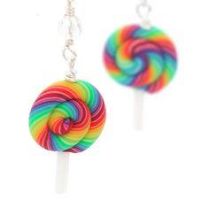 Rainbow lollipop earrings by inediblejewelry on Etsy, $24.00