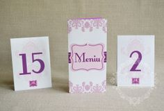 """Meniu nunta clasic cu damask – """"IMPERIA"""" Place Cards, Place Card Holders"""