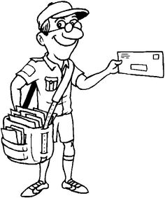 mailman cartero community helpers letter carrier coloring - Colouring Pictures Of People
