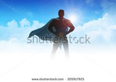 Silhouette illustration of a superhero on clouds - stock photo
