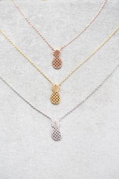 Cute pineapple necklace in gold, rose gold, and silver.