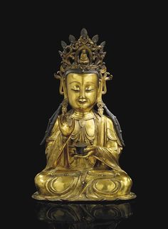 A FINE GILT-BRONZE FIGURE OF GUANYIN - CHINA, MING DYNASTY, 16TH/17TH CENTURY