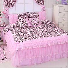 Home Fashion FADFAY Textil, Pink, Design Leopard Bettwäsche Korean Falbala Ruffed Bettbezug, Luxuriöse Bettwäsche Marke Spitze, baumwolle, rose, Queen