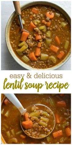 Lentil Soup Homemade Lentil Soup that is light, hearty and healthy. Loaded with chunks of carrots, celery, lentils and spices, you can also add your favorite protein to this already delicious recipe. Homemade Lentil Soup, Lentil Soup Recipes, Vegetarian Recipes, Cooking Recipes, Healthy Recipes, Easy Lentil Soup, Beef Lentil Soup, Lentil Vegetable Soup, Vegetable Recipes With Quinoa